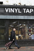 Virtual record shop and cafe Vinyl Tap shopfront installed by Swindon Borough Council to encourage redevelopment, Swindon Shopping precinct, Wiltshire - John Harris - 16-12-2016