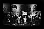 UK Premiere of The Rise And Fall of The City of Mahagonny by Bertolt Brecht Sadlers Wells Theatre London 1963 with set design by Ralph Koltai projecting photographs of world leaders onto a screen behi... - Alex Low - 16-01-1963
