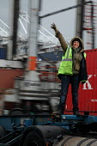 Woman HGV container transport driver, port of Le Harve - Benoit Decout - 05-01-2011