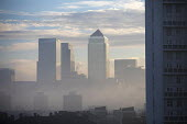 Winter fog lifting from Canary Wharf and the London Docklands, Tower Hamlets, East London - Jess Hurd - 28-12-2016