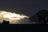 House and tree as the sunsets, Alcester, Warwickshire - John Harris - 2010s,2017,building,buildings,CLIMATE,cloud,clouds,cold,conditions,country,countryside,cumulus,Cumulus Cloud,dark,darkness,dusk,EBF,Economic,Economy,ENI,environment,Environmental Issues,EVENING,farm,f