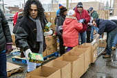 Detroit, Michigan USA Members of the Teamsters and AFL-CIO unions package holiday food boxes for distribution to the unemployed and underemployed. - Jim West - 17-12-2016