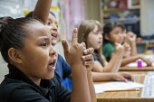 Thoreau, New Mexico - A second grade class studies spelling at St. Bonaventure Indian School, a Catholic school on the Navajo Nation. - Jim West - 12-10-2016