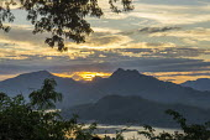 Laos, Sunsetover the Mekong River, Luang Prabang - David Bacon - 2010s,2015,Asia,asian,asians,country,countryside,ENI,environment,Environmental Issues,Lao,Laos,Laotian,Laotians,Luang Prabang,Mekong River,Mountain Range,mountainous,mountains,nature,outdoors,outside,