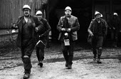 Miners coming off shift, Morlais Colliery, South Wales, 1973 - Chris Davies - 1970s,1973,blackened,capitalism,capitalist,change,coal,Coal Industry,Coal Mine,coalfield,coalindustry,collieries,colliery,coming off,EBF,Economic,Economy,employee,employees,Employment,extracting,hard