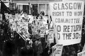 Right To Work march, London, 1975. Glasgow committee - Chris Davies - 1970s,1975,activist,activists,against,banner,banners,campaign,campaigner,campaigners,campaigning,CAMPAIGNS,cut,cuts,DEMONSTRATING,Demonstration,DEMONSTRATIONS,Glasgow,job cuts,job loss,jobless,jobs,jo