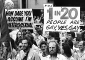 Gay Pride protest for equal rights for homosexuals London 1976 - Chris Davies - 1970s,1976,activist,activists,against,age of consent,anti gay,antigay,campaign,Campaign for Homosexual Equality,campaigner,campaigners,campaigning,CAMPAIGNS,CELEBRATE,celebrating,CHE,cities,City,DEMON