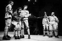 Man Is Man by Bertolt Brecht, Royal Court Theatre, London 1971. Mark McManus (L) Henry Woolf (L) Bob Hoskins (R) - Chris Davies - 01-03-1971