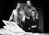 Alison Steadman (L) Roger Sloman (C) and Geoffrey Hutchings in Wholesome Glory a Mike Leigh play, Royal Court Theatre Upstairs, London, 1973 Later becoming the BBC TV Play for Today Nuts in May - Chris Davies - 20-02-1973
