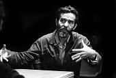 Athol Fugard on the set of his play, Sizwe banzi Is Dead, staged Upstairs at the Royal Court Theatre, London, 1973 - Chris Davies - 1970s,1973,ACE,act,acting,actor,actors,Arts,Athol Fugard,cities,city,Court,Culture,Dead,drama,DRAMATIC,London,male,man,men,people,person,persons,play,PLAYING,plays,South African,stage,Theatre,THEATRES