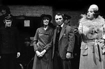 Colin Bennett, Amanda Knott, Bob Hoskins and Veronica Clifford in Happy End by Bertolt Brecht, Lyric Theatre, London, 1975 - Chris Davies - 23-08-1975