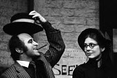Bob Hoskins and Angela Richards in Happy End by Bertolt Brecht, Lyric Theatre, London, 1975 - Chris Davies - 1970s,1975,ACE,act,acting,actor,actors,actress,actresses,Arts,Bob Hoskins,Brechtian,cities,city,Culture,drama,DRAMATIC,EMOTION,EMOTIONAL,EMOTIONS,Epic Theatre,FEMALE,HAPPINESS,Happy,London,male,man,me