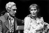 Mia Farrow as Ann Leete and Richard Pasco as Lord John Carp RSC production of The Marrying Of Ann Leete, Aldwych Theatre, London, 1975 - Chris Davies - 1970s,1975,ACE,act,acting,actor,actors,actress,actresses,Arts,cities,city,Culture,drama,DRAMATIC,FEMALE,London,maker,makers,making,male,man,men,Mia Farrow,people,person,persons,play,PLAYING,plays,prod