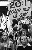 Gay Pride protest for equal rights for homosexuals London 1976 - Chris Davies - 1970s,1976,activist,activists,against,age of consent,anti gay,antigay,betting odds,campaign,Campaign for Homosexual Equality,campaigner,campaigners,campaigning,CAMPAIGNS,CELEBRATE,celebrating,CHE,citi