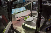 Detroit, Michigan, Rinspeed Oasis self-driving concept car, North American International Auto Show. The steering wheel can fold down into a computer keyboard when in self-driving mode. - Jim West - 09-01-2017