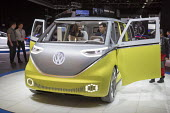 Detroit, Michigan, Volkswagen I.D. Buzz concept vehicle, North American International Auto Show. The remake of the classic VW microbus is an electric self driving vehicle. - Jim West - 10-01-2017