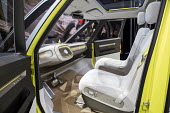 Detroit, Michigan, Volkswagen I.D. Buzz concept vehicle, North American International Auto Show. The remake of the classic VW microbus is an electric self driving vehicle. The steering wheel retracts... - Jim West - 10-01-2017