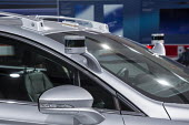 Detroit, Michigan, sensors on a Ford Fusion autonomous vehicle on display, North American International Auto Show. - Jim West - 09-01-2017