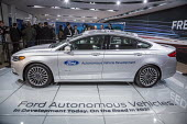 Detroit, Michigan, Ford Fusion autonomous vehicle, North American International Auto Show - Jim West - 2010s,2017,America,American,americans,AUTO,auto industry,auto show,automated,AUTOMATIC,automation,AUTOMOBILE,AUTOMOBILES,automotive,Automotive Industry,autonomous vehicle,car,Car Industry,car show,car