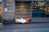 Rough sleeper's bedding in a doorway in The Strand, central London. - Philip Wolmuth - 2010s,2017,bed,beds,cities,City,doorway,evening,excluded,exclusion,HARDSHIP,homeless,homelessness,housing,impoverished,impoverishment,INEQUALITY,Marginalised,people,POOR,poverty,precariat,precarious,R