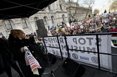 Zita Holbourne, PCS speaking Stop Trump's Muslim Ban, Stop The War protest from US Embassy to Downing Street, Westminster, London. - Jess Hurd - 04-02-2017