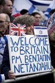 Pro Zionist protest greeting Israeli Prime Minister Benjamin Netanyahu meeting Theresa May, Downing Street, London - Jess Hurd - 06-02-2017