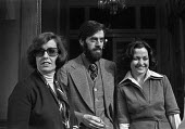 Leaders of the Northern Ireland Peace Movement 1976 (L-R) Betty Williams, Ciaran McKeown and Mairead Corrigan, press conference, London - Martin Mayer - 08-11-1976