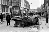 Brixton riots, London 1981 Burnt out car the day after - NLA - 12-04-1981