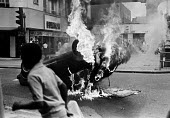 Burning car in the street, Brixton riots, July 1981 - NLA - 20-07-1981