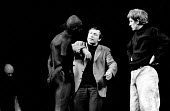 Producer Clifford Williams directing Caliban played by Roy Dotrice and Trinculo played by David Warner (r). Rehearsal for The Tempest by William Shakespeare, RSC Stratford on Avon 1963 - Alex Low - 04-04-1963