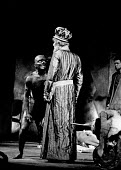 Caliban played by Roy Dotrice and Prospero played by Tom Fleming (R). The Tempest by William Shakespeare performed by the RSC Stratford on Avon 1963 - Alex Low - 04-04-1963