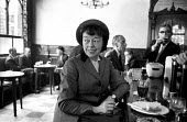 Theatre Workshop Director Joan Littlewood in a bar after rehearsing for Fings Ain't What They Used To Be, Theatre Royal Stratford East London 1959 - Alan Vines - 04-02-1959