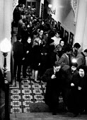Queue for the box office at first ever poetry and jazz concert at Hampstead Town Hall arranged by Jeremy Robson, London 1961. More than 100 people were eventually turned away at the sold out event, Lo... - Alan Vines - 1960s,1961,ACE,Arts,audience,AUDIENCES,cities,city,concert,CONCERTS,Culture,entertainment,evening,Leisure,LFL,LIFE,line,London,male,man,melody,men,music,MUSICAL,night out,PEOPLE,person,persons,poem,po