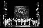 Cast taking curtain call at the end of the Theatre Workshop production of Oh What A Lovely War! directed by Joan Littlewood at Theatre Royal Stratford East 1963 - Romano Cagnoni - 1960s,1963,ACE,act,acting,actor,actors,Arts,cities,city,Culture,Curtain Call,drama,DRAMATIC,Epic theatre,maker,makers,making,male,man,men,musical,Oh What A Lovely War,people,person,persons,play,PLAYIN