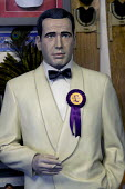 Humphrey Bogart looking worried with UKIP rosettte. Paul Nuttall UKIP By Election, Stoke on Trent Central, Staffordshire - John Harris - 13-02-2017