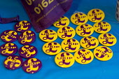 Badges. Paul Nuttall UKIP By Election, Stoke on Trent Central, Staffordshire - John Harris - 2010s,2017,badge,badges,Brexit,by election,campaign,campaigning,CAMPAIGNS,DEMOCRACY,election,elections,eurosceptic,Euroscepticism,eurosceptics,Paul Nuttall,POL,political,POLITICIAN,POLITICIANS,Politic