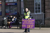Supporters on the streets, Paul Nuttall UKIP By Election, Stoke on Trent Central, Staffordshire - John Harris - 2010s,2017,Brexit,by election,campaign,campaigning,CAMPAIGNS,cities,city,DEMOCRACY,election,elections,eurosceptic,Euroscepticism,eurosceptics,male,man,men,Paul Nuttall,people,person,persons,placard,pl