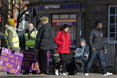 Supporters on the streets, Paul Nuttall UKIP By Election, Stoke on Trent Central, Staffordshire - John Harris - 2010s,2017,adult,adults,BAME,BAMEs,bigotry,Black,Black and White,BME,bmes,Brexit,by election,campaign,campaigning,CAMPAIGNS,cities,city,couple,COUPLES,DEMOCRACY,DISCRIMINATION,diversity,election,elect