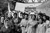 Women strike for equal pay, Trico, West London - Peter Arkell - 1970s,1976,activist,activists,age,ageing population,AUEW,BAME,BAMEs,Black,black and white,BME,bme.poc,bmes,CAMPAIGN,campaigner,campaigners,CAMPAIGNING,CAMPAIGNS,cultural,DEMONSTRATING,Demonstration,DE