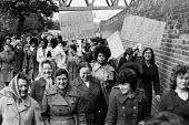 Women strike for equal pay, Trico, West London - Peter Arkell - 1970s,1976,activist,activists,AUEW,BAME,BAMEs,Black,black and white,BME,bme.poc,bmes,CAMPAIGN,campaigner,campaigners,CAMPAIGNING,CAMPAIGNS,cultural,DEMONSTRATING,Demonstration,DEMONSTRATIONS,disputes,