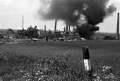 Flixborough Chemical Plant Disaster 1974 after the explosion which demolished the site and killed 28 people, seriously injured 36 workers. Nypro UK Jointly owned by DSM and NCB - Peter Arkell - 1970s,1974,accident,accidental,accidents,accidents at work,building,buildings,burnt out,caprolactam,chemical,chemical industry,chemicalindustry,chemicals,collapsed,collapsed building,collapsed buildin
