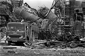 Flixborough Chemical Plant Disaster 1974 Firemen after the explosion which demolished the site and killed 28 people, seriously injured 36 workers. Nypro UK Jointly owned by DSM and NCB - Peter Arkell - 02-06-1974