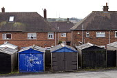 Garages and houses, Bentilee, Stoke on Trent, Staffordshire - John Harris - 17-02-2017