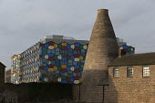 Smithfield pottery factory and bottle kiln by modern One Smithfield office building, Hanley, Stoke on Trent, Staffordshire - John Harris - 2010s,2017,bottle kiln,bottle kilns,building,buildings,capitalism,chimney,chimneys,cities,City,closed,closing,closure,closures,developer,developers,development,EBF,Economic,Economy,grade 11,grade two,