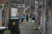 Boys walking along a back alley, Cauldon, Stoke on Trent, Staffordshire - John Harris - 2010s,2017,alleyway,Asian,Asians,bag,bags,BAME,BAMEs,bin,bin bag,bin bags,binbag,binbags,bins,Black,BME,bmes,BOY,Boys,cities,City,diversity,ethnic,ethnicity,excluded,exclusion,friend,friends,friendshi