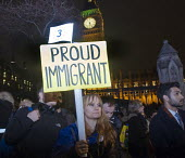 One Day Without Us protest in Parliament Square in support of immigrants and the benefits immigration brings to the UK and against the planned visit of USA President Donald Trump - Stefano Cagnoni - 20-02-2017