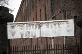 Shop till you drop sign for car boot sale, derelict Stanley Dock Tobacco Warehouse, Stanley Dock, Port of Liverpool - Jess Hurd - 25-09-2016