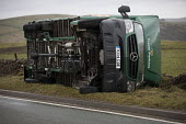 High sided vehicles overturned by gale force winds of Storm Doris on a mountain pass, A53 nr Flash, Peak District National Park, Staffordshire - Jess Hurd - gales.gale force,2010s,2017,accident,accidental,accidents,accidents at work,CLIMATE,conditions,crash,crashed,damage,damaged,danger,dangerous,dangers,DIA,Doris,Flash,gale,HAULAGE,HAULIER,HAULIERS,hazar