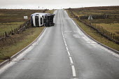 Storm Doris overturns high sided vehicles on a high pass nr Flash in the Peak District National Park, Staffordshire. - Jess Hurd - 23-02-2017