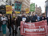 Lambeth Momentum supporters with Picturehouse workers at Ritzy cinemas on 24 hour strike, rally in Leicester Square the center of the London cinema scene in protest at the continuing refusal by Cinewo... - Stefano Cagnoni - 26-02-2017
